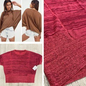 New!! Free People WFH Sweater Tee in Pink Spark
